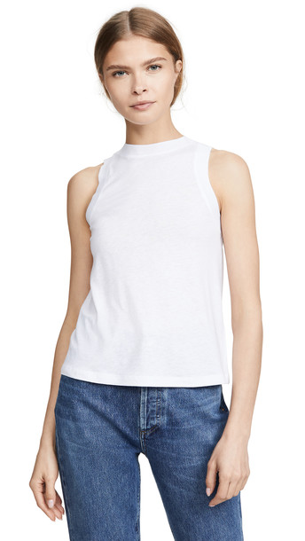 Vince Sweater Trim Tank in white
