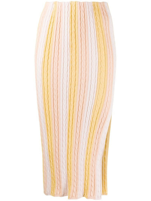 Marco De Vincenzo front slit knitted skirt in neutrals