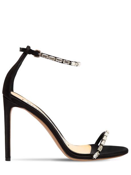 ALEXANDRE VAUTHIER 100mm Carla Embellished Satin Sandals in black
