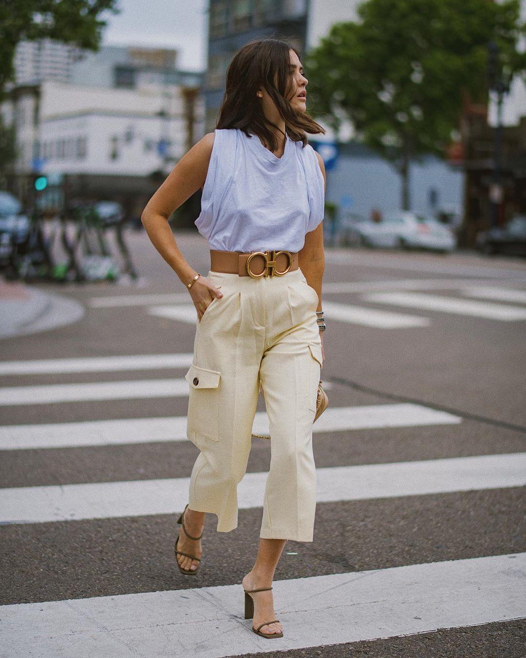 pants cargo pants high waisted pants sleeveless top sandal heels belt
