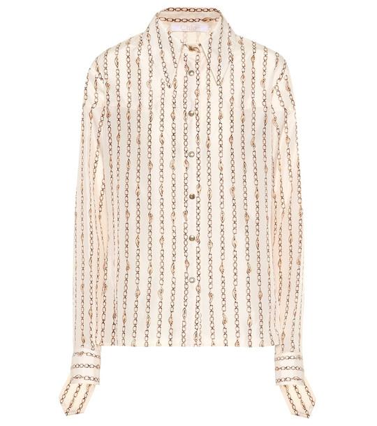 Chloé Printed silk shirt in beige