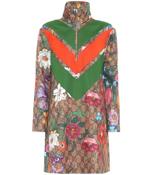 Gucci GG Flora technical-jersey dress in brown