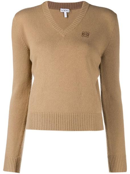 LOEWE Anagram logo embroidered jumper in neutrals