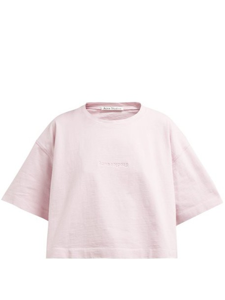 Acne Studios - Cylea Debossed Logo Cropped T Shirt - Womens - Pink