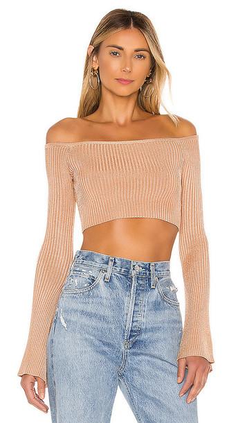 NBD Colombo Cropped Sweater in Beige