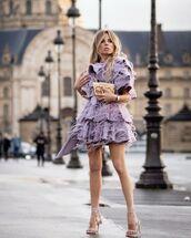 dress,ruffle dress,mini dress,feathers,sandal heels,one shoulder,bag