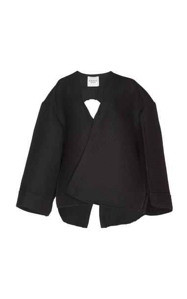 A.W.A.K.E. MODE Open-Back Faille Top Size: 38 in black