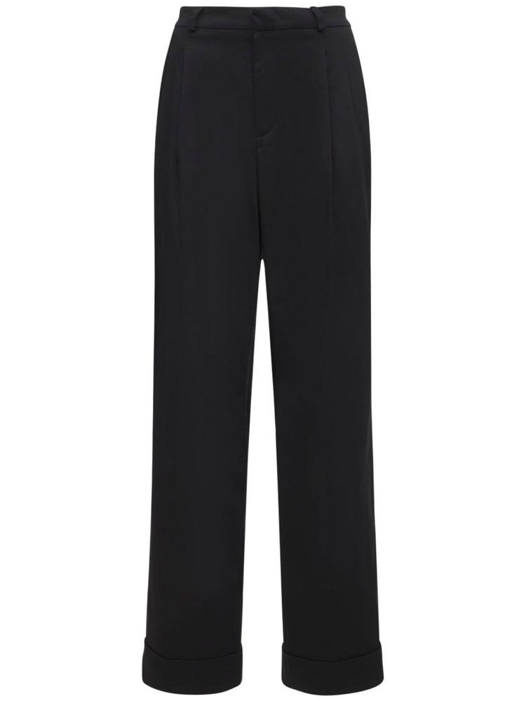 ÀCHEVAL PAMPA Gardel High Waist Cotton Satin Pants in black