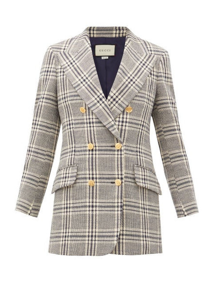 Gucci - Checked Wool-blend Double-breasted Jacket - Womens - Blue White
