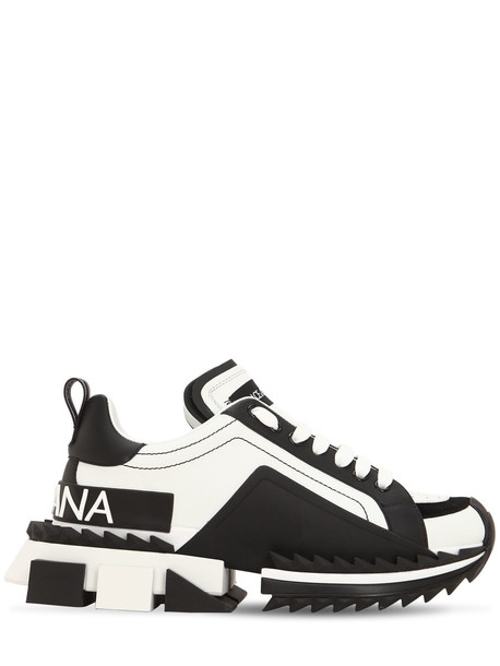 DOLCE & GABBANA 40mm Super Queen Leather Sneakers in black / white