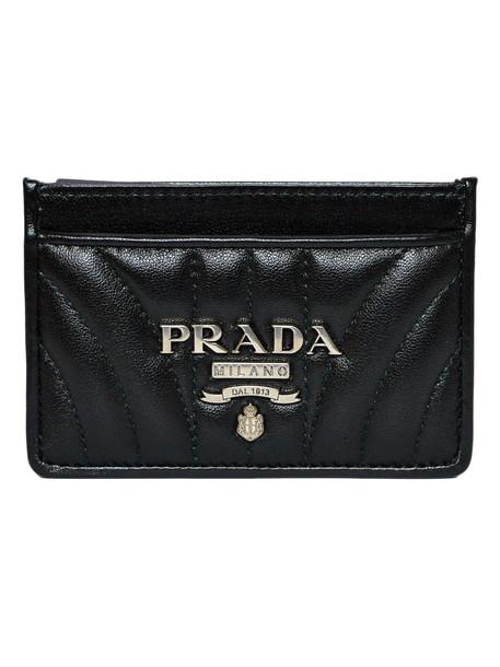 Prada Credit Card Holder Diagramma Coin Purse in black