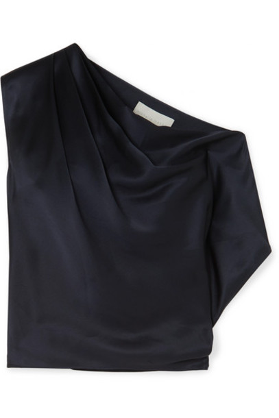 Michelle Mason - One-shoulder Draped Silk-charmeuse Top - Midnight blue