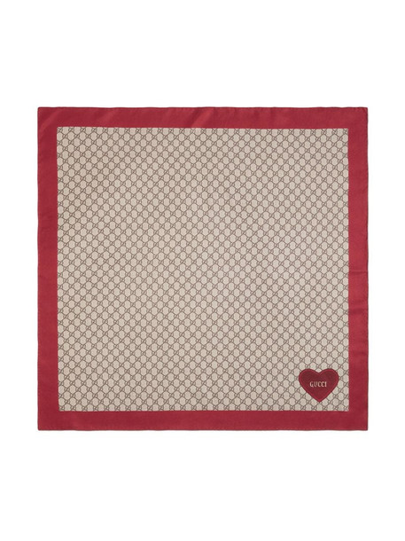 Gucci GG Supreme embroidered heart scarf in red