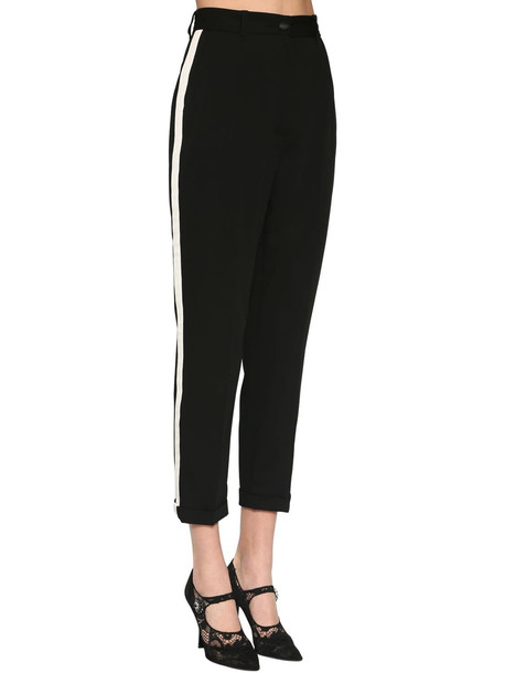 DOLCE & GABBANA Straight Leg Stretch Cady Pants in black