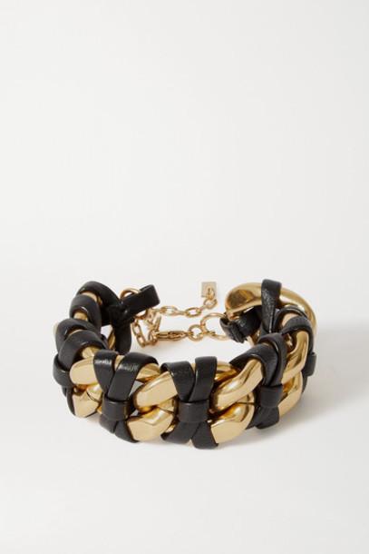 SAINT LAURENT - Leather And Gold-tone Bracelet - Black