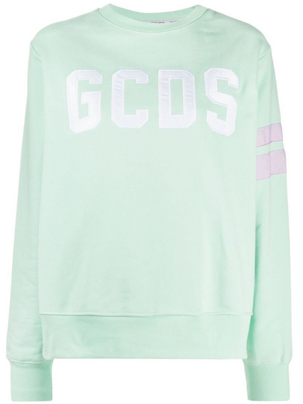 Gcds oversized logo embroidered sweatshirt in grey