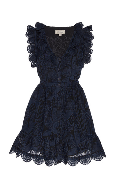 Temperley London Heaven Ruffled Lace Mini Dress Size: 6 in blue