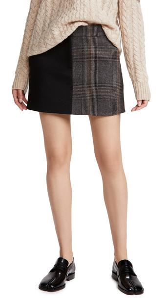 Tibi Mini Trouser Skirt in grey / multi