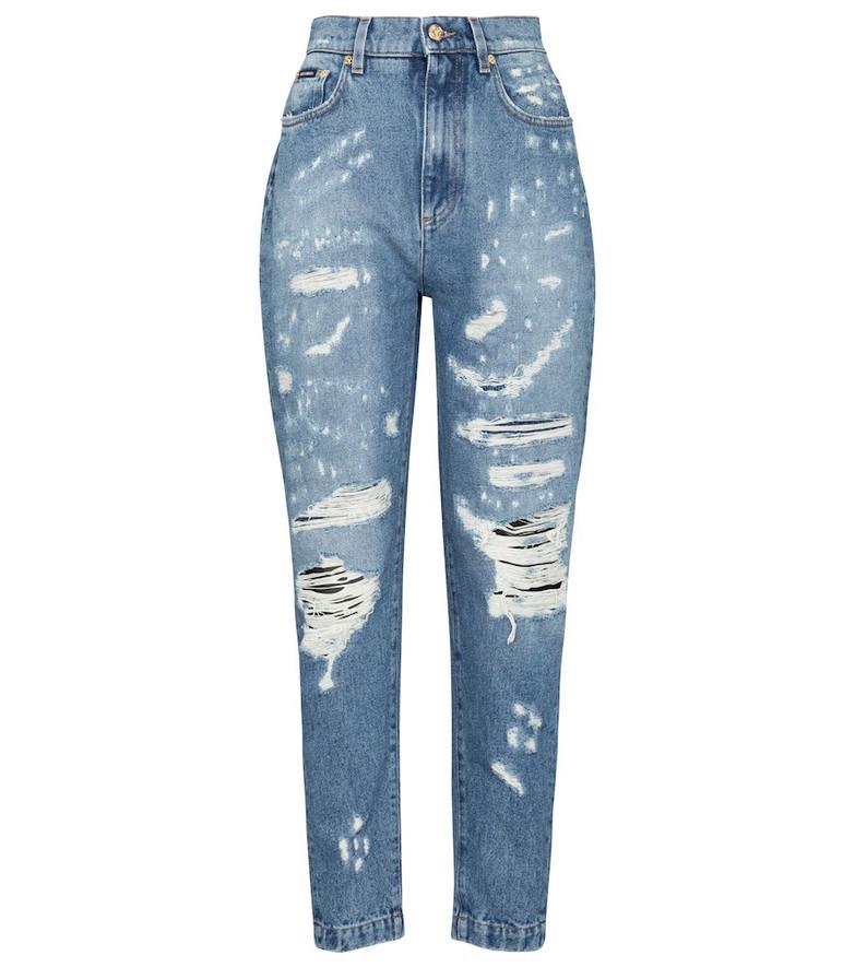Dolce & Gabbana High-rise distressed slim jeans in blue