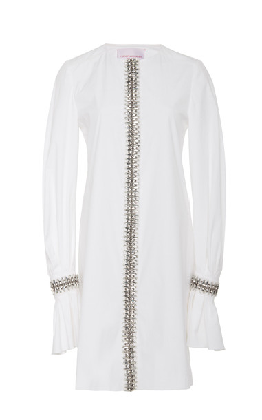 Carolina Herrera Embellished Cotton-Blend Shift Mini Dress in white