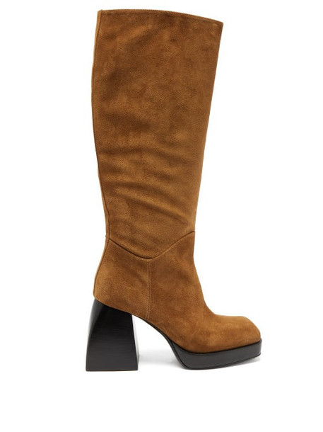 Nodaleto - Bullia Knee-high Suede Platform Boots - Womens - Brown