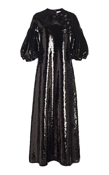 Huishan Zhang Celine Sequined Midi Dress in black