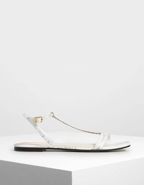 Chain Strap Snake Print Sandals in white