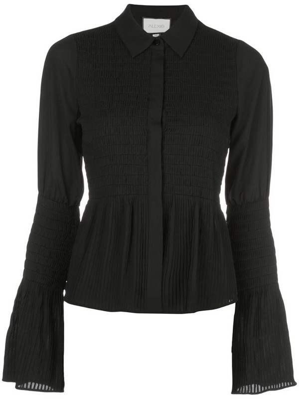 Alexis Chantal shirred bell-sleeved shirt in black