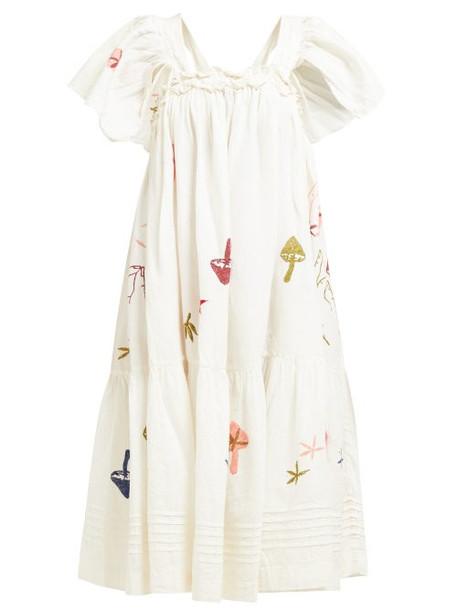 Story Mfg - Aida Embroidered Linen Blend Dress - Womens - White Multi