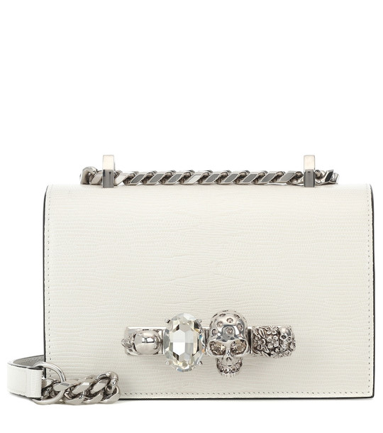 Alexander McQueen Jeweled Mini leather crossbody bag in white