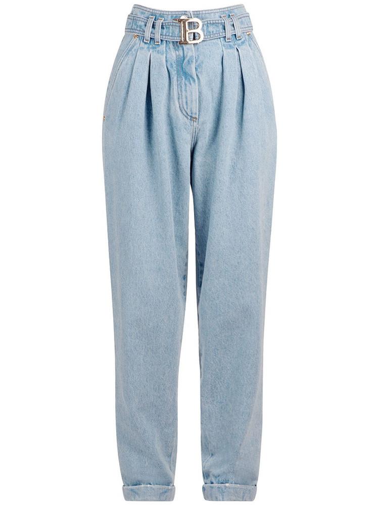 BALMAIN Belted Cotton Denim Boyfriend Jeans