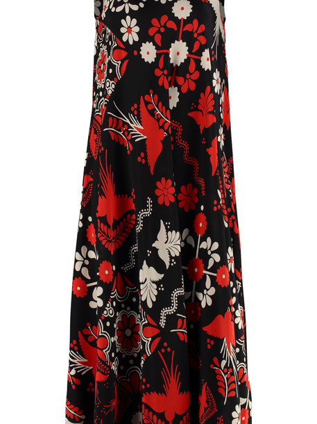RED Valentino Printed Silk Midi Dress in black