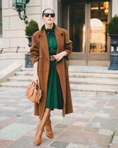 dress,midi dress,gucci,long sleeve dress,knee high boots,brown bag,double breasted,handbag,black sunglasses