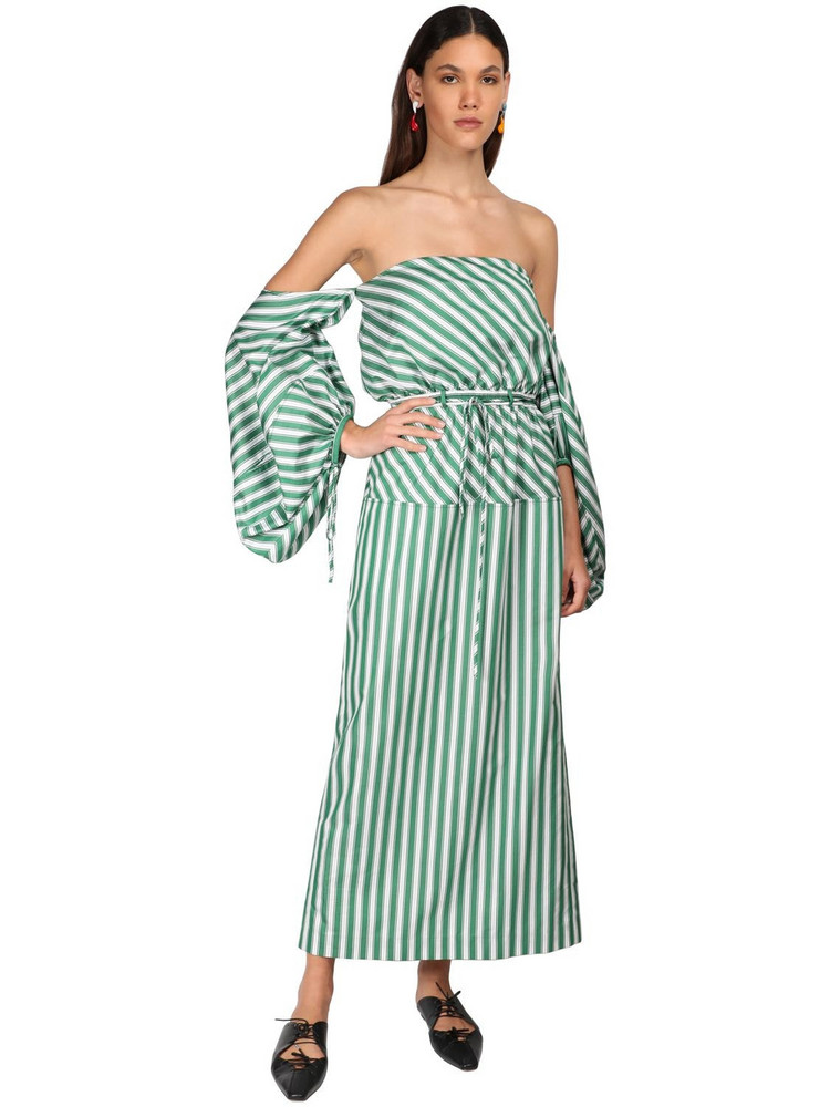 ROSIE ASSOULIN Cotton Cocktail Dress W/ Puff Sleeves in green / white