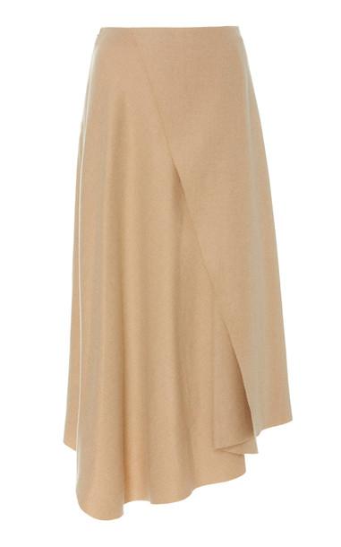 Vince Asymmetric Wrap-Effect Twill Midi Skirt Size: 10 in neutral