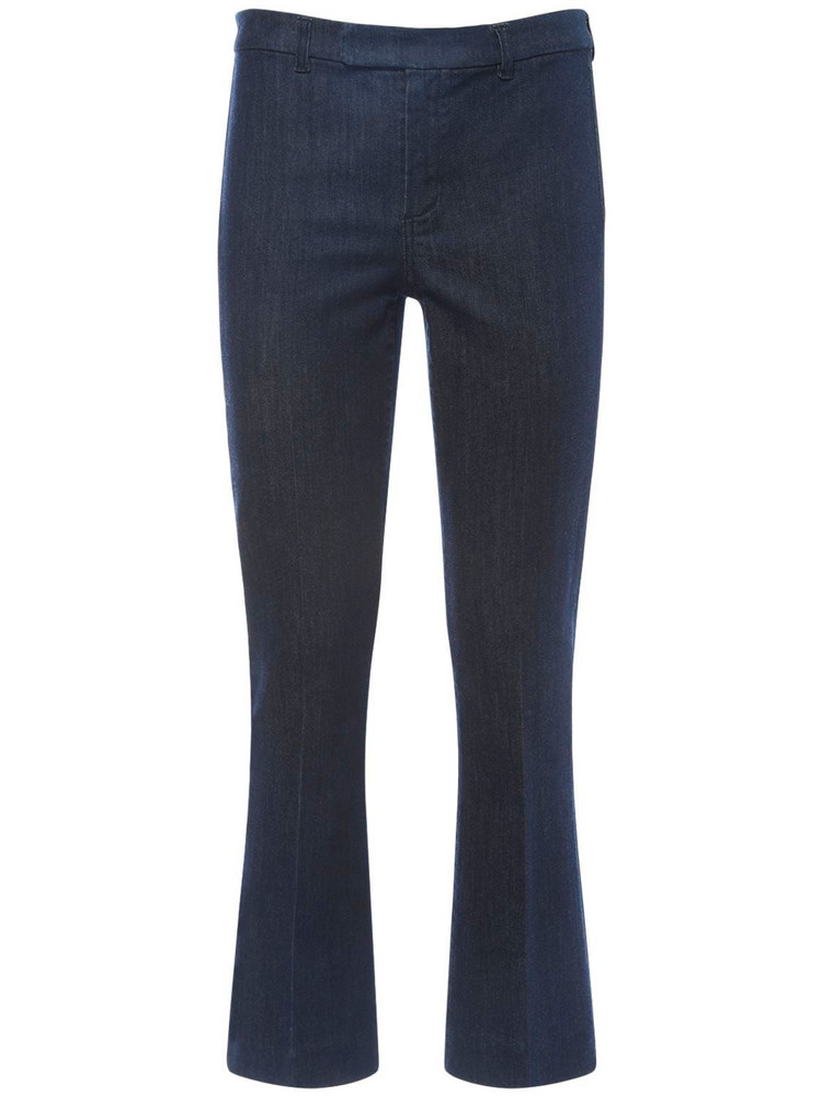MAX MARA 'S Flared Cotton Blend Denim Pants in blue