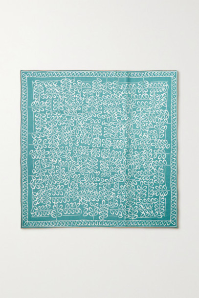 Loro Piana - Printed Cashmere And Silk-blend Twill Scarf - Turquoise