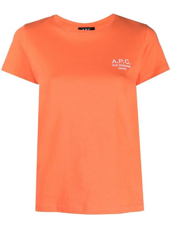 A.P.C. logo-print cotton t-shirt in orange