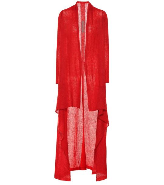 Rick Owens Wool cardigan in red