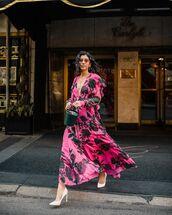 dress,pink dress,floral dress,maxi dress,long prom dress,carolina herrera,pumps,bucket bag