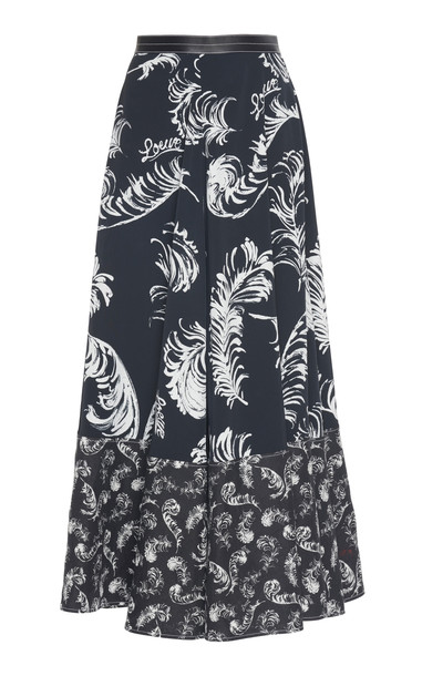 Loewe Leather-Trimmed Printed Jersey Midi Skirt in black / white