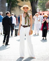 pants,wide-leg pants,white pants,high waisted pants,tank top,white top,white sandals,round bag,sun hat,scarf