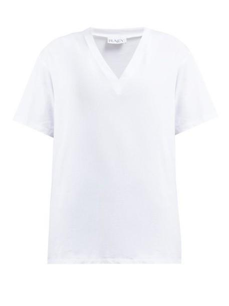 Raey - V Neck Heavy Cotton Jersey T Shirt - Womens - White