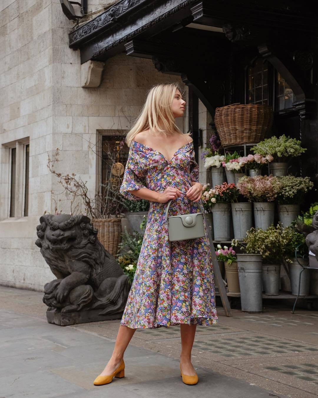 dress midi dress floral dress silk shoes grey bag handbag