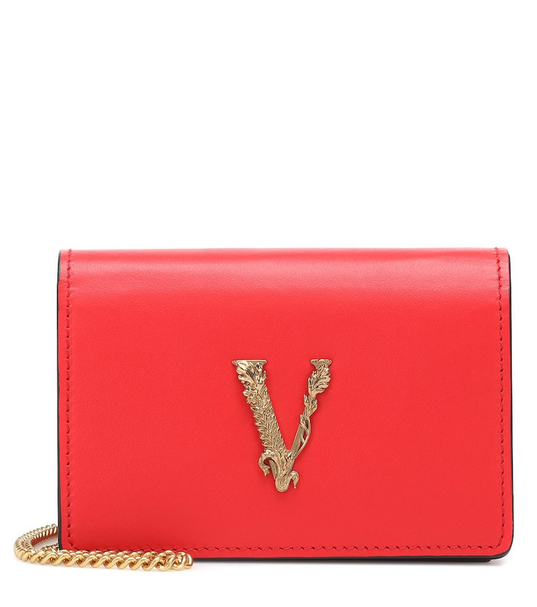 Versace Virtus Small leather shoulder bag in red