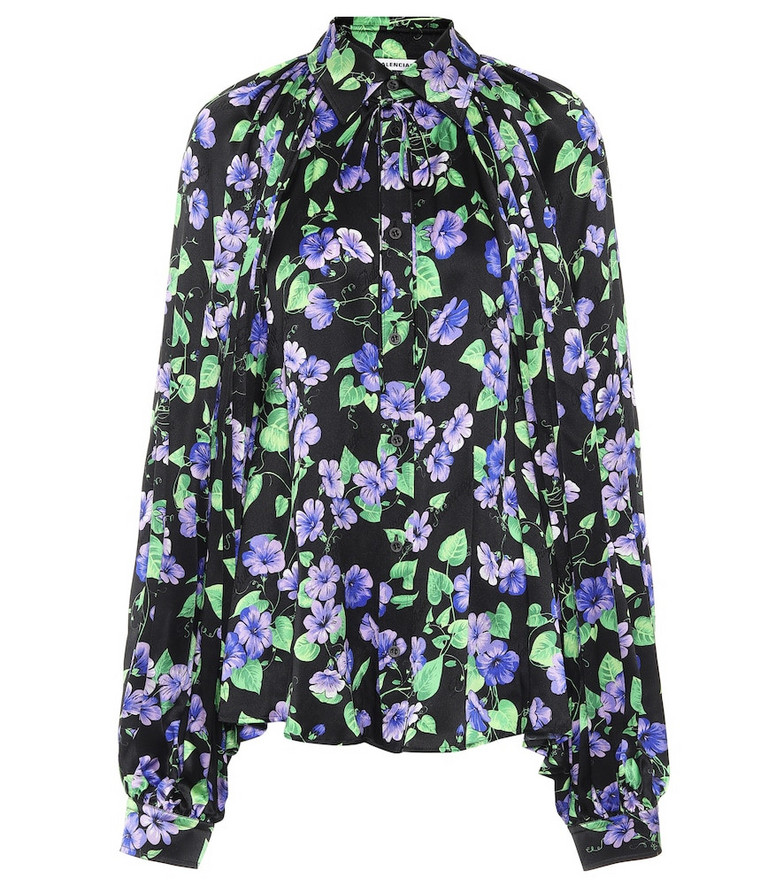 Balenciaga Floral silk shirt in purple