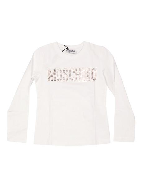 Moschino Embellished Logo Long-sleeved T-shirt in bianco