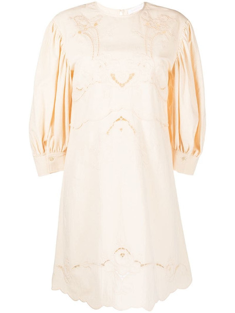See by Chloé embroidered details shift dress in neutrals