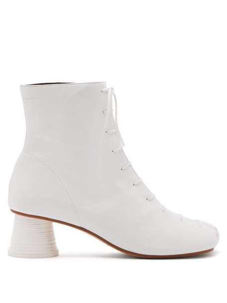 Mm6 Maison Margiela - Cup Heel Leather Ankle Boots - Womens - White