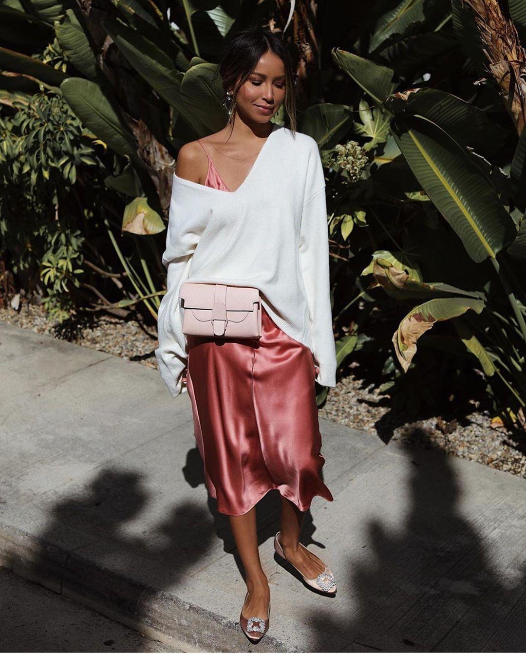 sweater white sweater v neck dress slip dress shoes blogger style